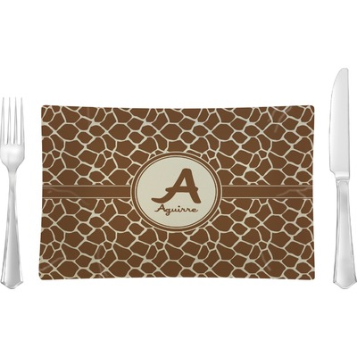 Giraffe Print Rectangular Glass Lunch / Dinner Plate - Single or Set (Personalized)