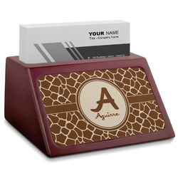 Giraffe Print Red Mahogany Business Card Holder (Personalized)