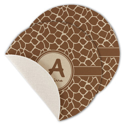 Giraffe Print Round Linen Placemat (Personalized)