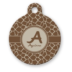 Giraffe Print Round Pet Tag (Personalized)