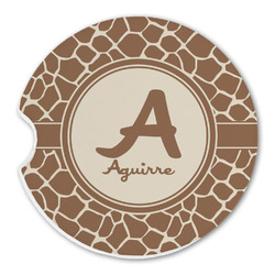 Giraffe Print Sandstone Car Coasters (Personalized)