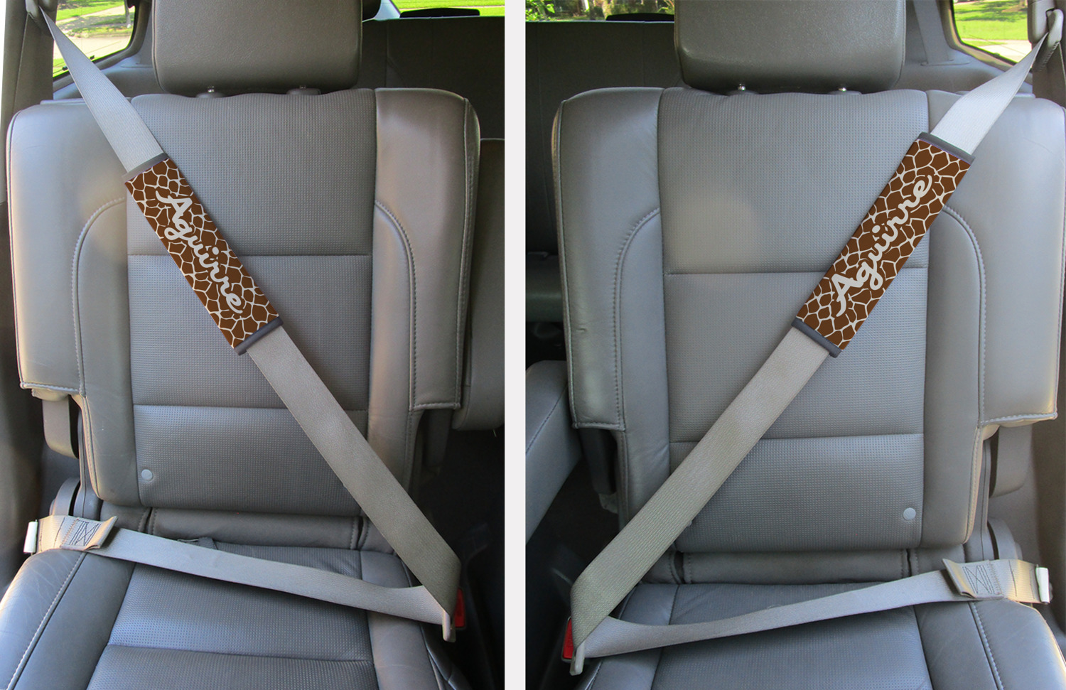 Peachy Giraffe Print Seat Belt Covers Set Of 2 Personalized Short Links Chair Design For Home Short Linksinfo