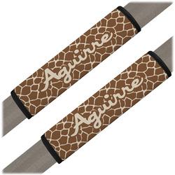 Giraffe Print Seat Belt Covers (Set of 2) (Personalized)