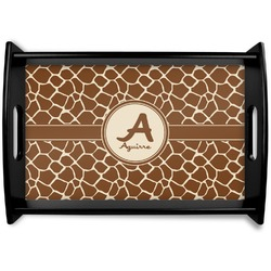 Giraffe Print Black Wooden Tray (Personalized)