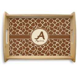 Giraffe Print Natural Wooden Tray (Personalized)
