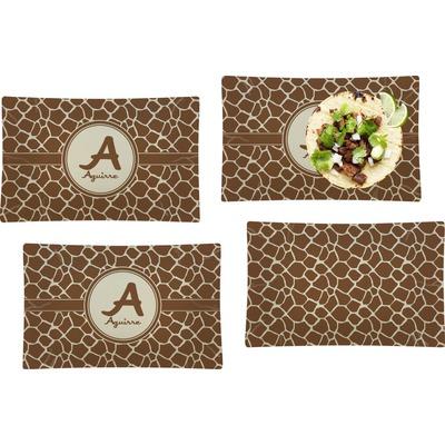 Giraffe Print Set of 4 Glass Rectangular Lunch / Dinner Plate (Personalized)