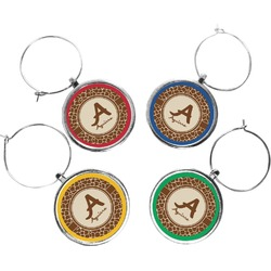 Giraffe Print Wine Charms (Set of 4) (Personalized)