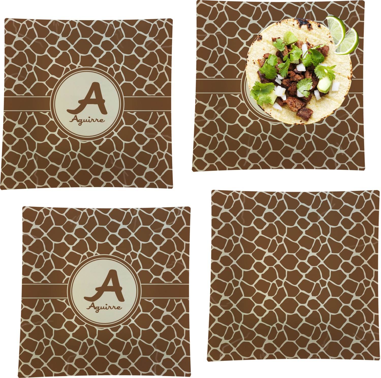 Giraffe Print Set Of 4 Glass Square Lunch / Dinner Plate 9.5