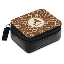 Giraffe Print Small Leatherette Travel Pill Case (Personalized)