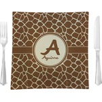 """Giraffe Print Glass Square Lunch / Dinner Plate 9.5"""" - Single or Set of 4 (Personalized)"""