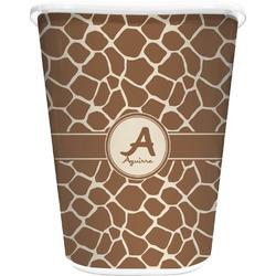 Giraffe Print Waste Basket - Single Sided (White) (Personalized)