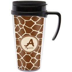 Giraffe Print Travel Mug with Handle (Personalized)