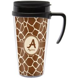 Giraffe Print Travel Mug with Handle (Personalized)