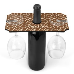 Giraffe Print Wine Bottle & Glass Holder (Personalized)