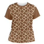 Giraffe Print Women's Crew T-Shirt (Personalized)