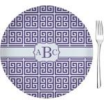 "Greek Key 8"" Glass Appetizer / Dessert Plates - Single or Set (Personalized)"