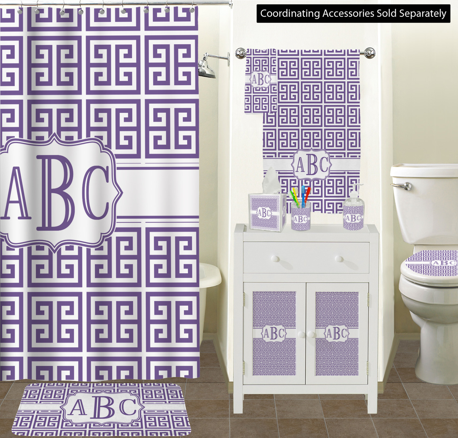 Shower Curtain Sizes RNK Standard Colors Greek Key Bathroom Scene
