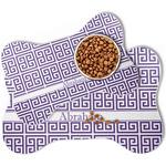 Greek Key Bone Shaped Dog Food Mat (Personalized)