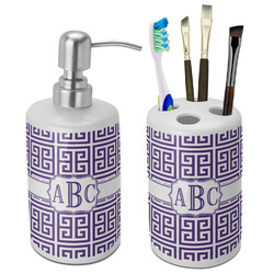 Greek Key Ceramic Bathroom Accessories Set (Personalized)