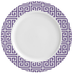 Greek Key Ceramic Dinner Plates (Set of 4) (Personalized)