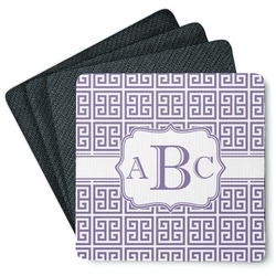 Greek Key 4 Square Coasters - Rubber Backed (Personalized)