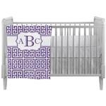 Greek Key Crib Comforter / Quilt (Personalized)