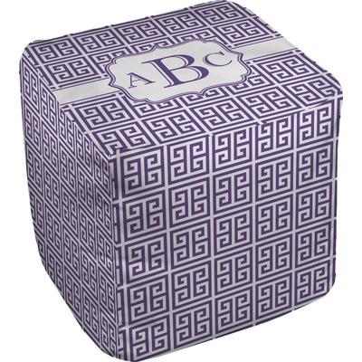 Greek Key Cube Pouf Ottoman (Personalized)