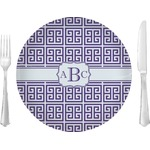 """Greek Key 10"""" Glass Lunch / Dinner Plates - Single or Set (Personalized)"""