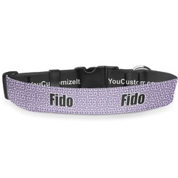 "Greek Key Deluxe Dog Collar - Large (13"" to 21"") (Personalized)"