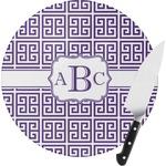 Greek Key Round Glass Cutting Board (Personalized)
