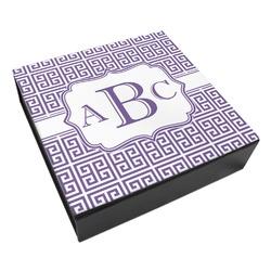 Greek Key Leatherette Keepsake Box - 8x8 (Personalized)