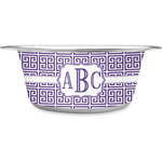 Greek Key Stainless Steel Dog Bowl (Personalized)