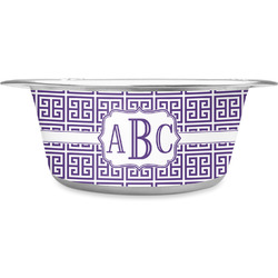 Greek Key Stainless Steel Pet Bowl (Personalized)