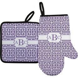 Greek Key Oven Mitt & Pot Holder (Personalized)