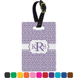 Greek Key Rectangular Luggage Tag (Personalized)