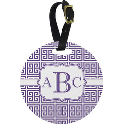 Greek Key Round Luggage Tag (Personalized)