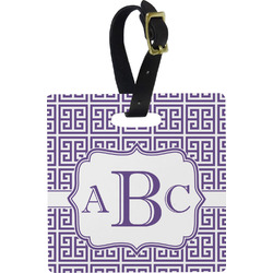 Greek Key Square Luggage Tag (Personalized)
