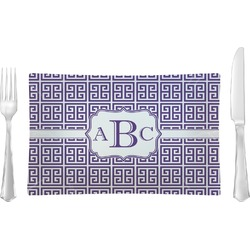 Greek Key Rectangular Glass Lunch / Dinner Plate - Single or Set (Personalized)