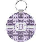 Greek Key Round Keychain (Personalized)
