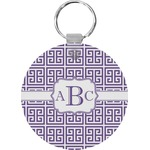 Greek Key Round Plastic Keychain (Personalized)