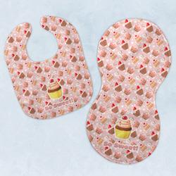 Sweet Cupcakes Baby Bib & Burp Set w/ Name or Text