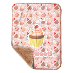 """Sweet Cupcakes Sherpa Baby Blanket 30"""" x 40"""" w/ Name or Text"""