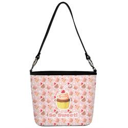 Sweet Cupcakes Bucket Bag w/ Genuine Leather Trim (Personalized)