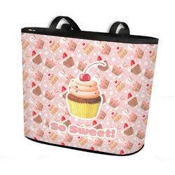 Sweet Cupcakes Bucket Tote w/ Genuine Leather Trim (Personalized)