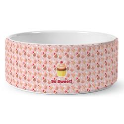 Sweet Cupcakes Ceramic Dog Bowl (Personalized)