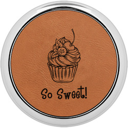 Sweet Cupcakes Leatherette Round Coaster w/ Silver Edge - Single or Set (Personalized)