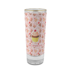 Sweet Cupcakes 2 oz Shot Glass - Glass with Gold Rim (Personalized)
