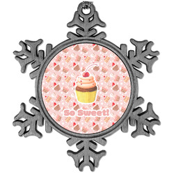 Sweet Cupcakes Vintage Snowflake Ornament (Personalized)
