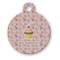 Sweet Cupcakes Round Pet ID Tag (Personalized)