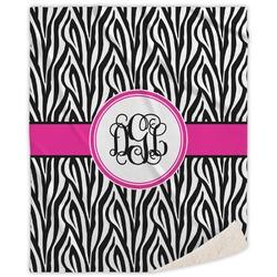 Zebra Print Sherpa Throw Blanket (Personalized)